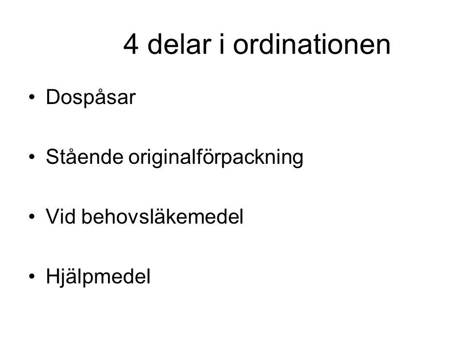 4 delar i ordinationen •Dospåsar •Stående originalförpackning •Vid behovsläkemedel •Hjälpmedel