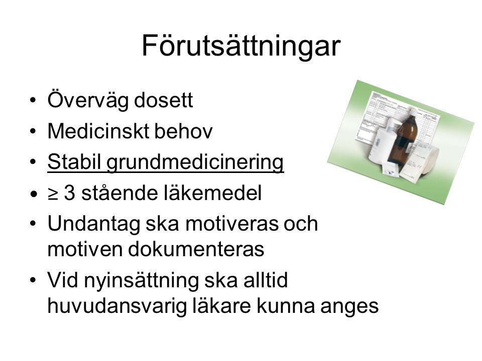 Förutsättningar •Överväg dosett •Medicinskt behov •Stabil grundmedicinering •≥ 3 stående läkemedel •Undantag ska motiveras och motiven dokumenteras •V
