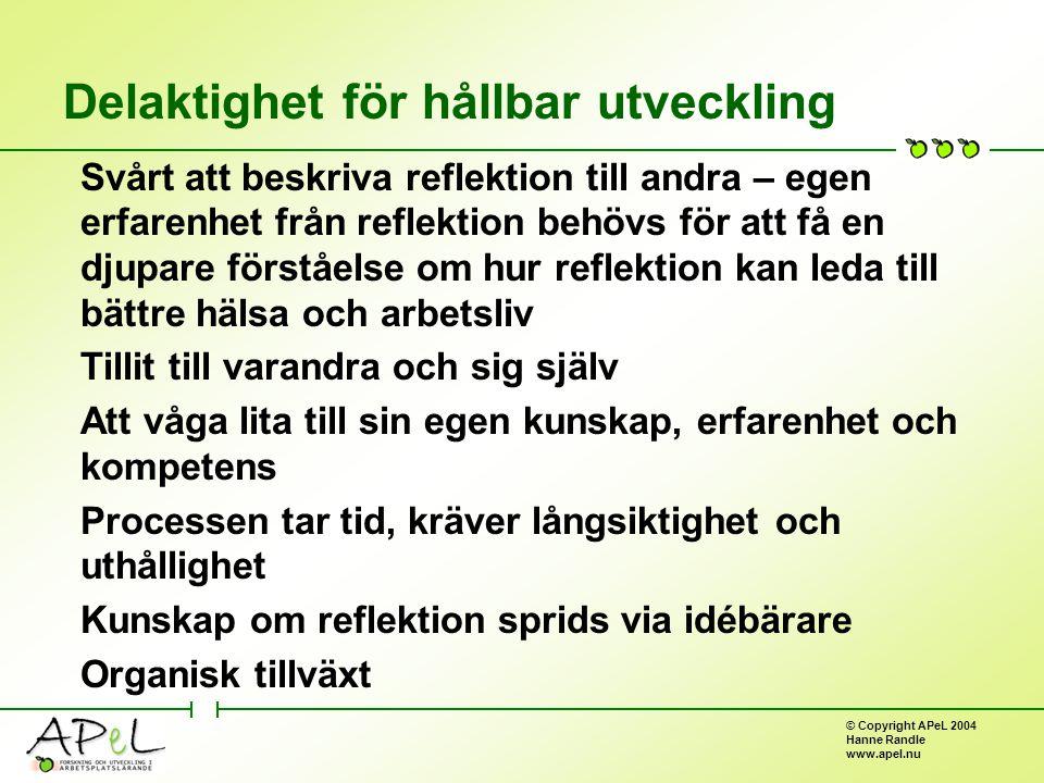 © Copyright APeL 2004 Hanne Randle www.apel.nu Delaktighet för hållbar utveckling Svårt att beskriva reflektion till andra – egen erfarenhet från reflektion behövs för att få en djupare förståelse om hur reflektion kan leda till bättre hälsa och arbetsliv Tillit till varandra och sig själv Att våga lita till sin egen kunskap, erfarenhet och kompetens Processen tar tid, kräver långsiktighet och uthållighet Kunskap om reflektion sprids via idébärare Organisk tillväxt