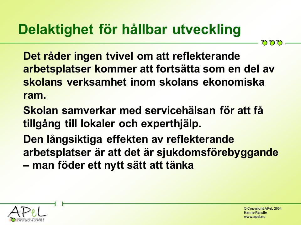 © Copyright APeL 2004 Hanne Randle www.apel.nu Delaktighet för hållbar utveckling Det råder ingen tvivel om att reflekterande arbetsplatser kommer att fortsätta som en del av skolans verksamhet inom skolans ekonomiska ram.