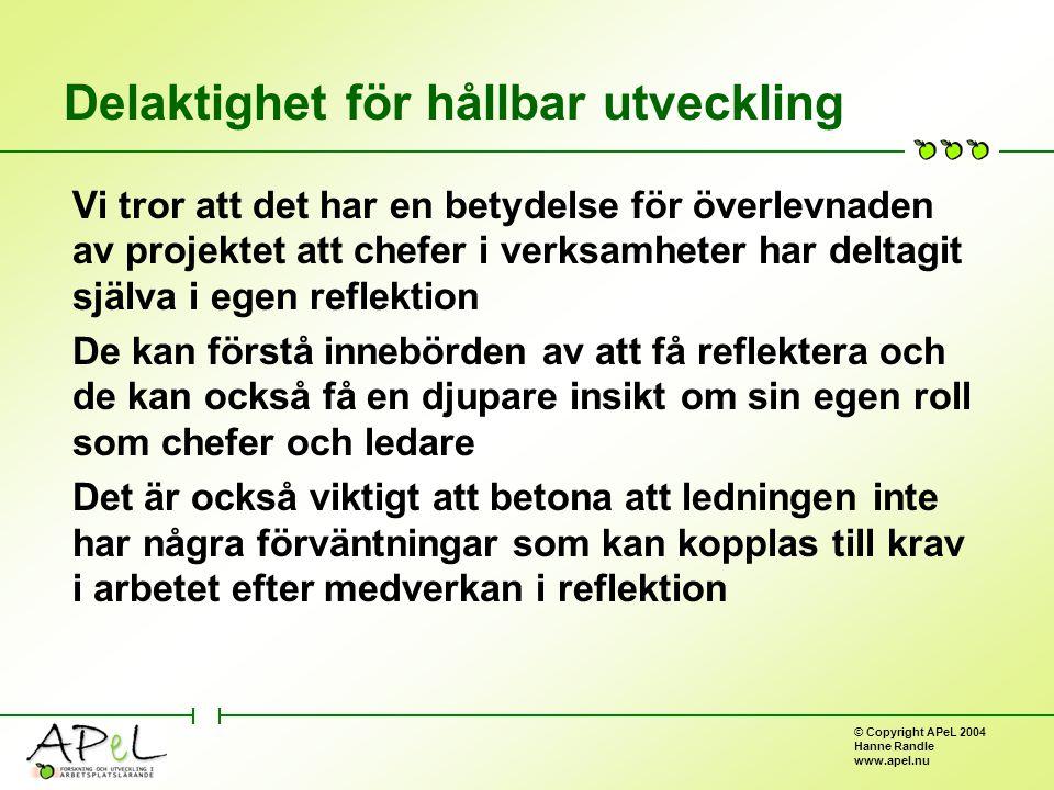 © Copyright APeL 2004 Hanne Randle www.apel.nu Delaktighet för hållbar utveckling Vi tror att det har en betydelse för överlevnaden av projektet att chefer i verksamheter har deltagit själva i egen reflektion De kan förstå innebörden av att få reflektera och de kan också få en djupare insikt om sin egen roll som chefer och ledare Det är också viktigt att betona att ledningen inte har några förväntningar som kan kopplas till krav i arbetet efter medverkan i reflektion