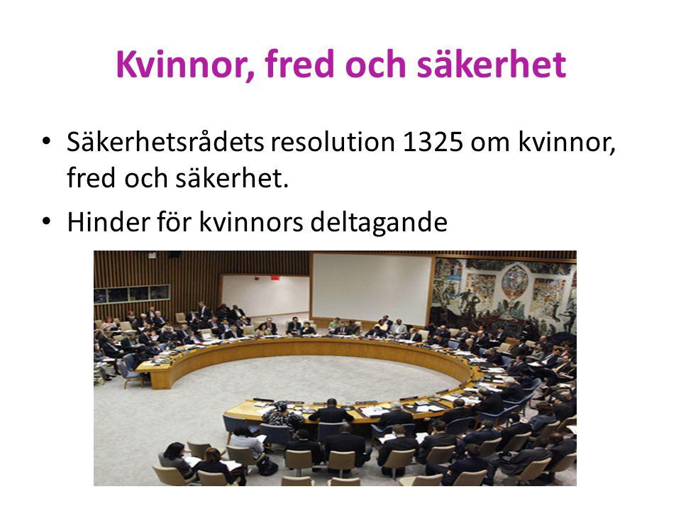Kvinnor, fred och säkerhet • Säkerhetsrådets resolution 1325 om kvinnor, fred och säkerhet. • Hinder för kvinnors deltagande
