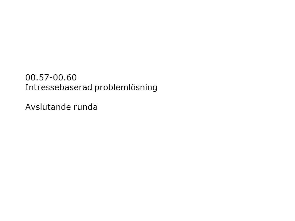 00.57-00.60 Intressebaserad problemlösning Avslutande runda