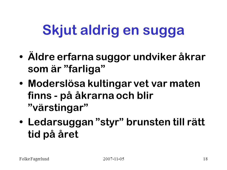 """Folke Fagerlund2007-11-0518 Skjut aldrig en sugga •Äldre erfarna suggor undviker åkrar som är """"farliga"""" •Moderslösa kultingar vet var maten finns - på"""