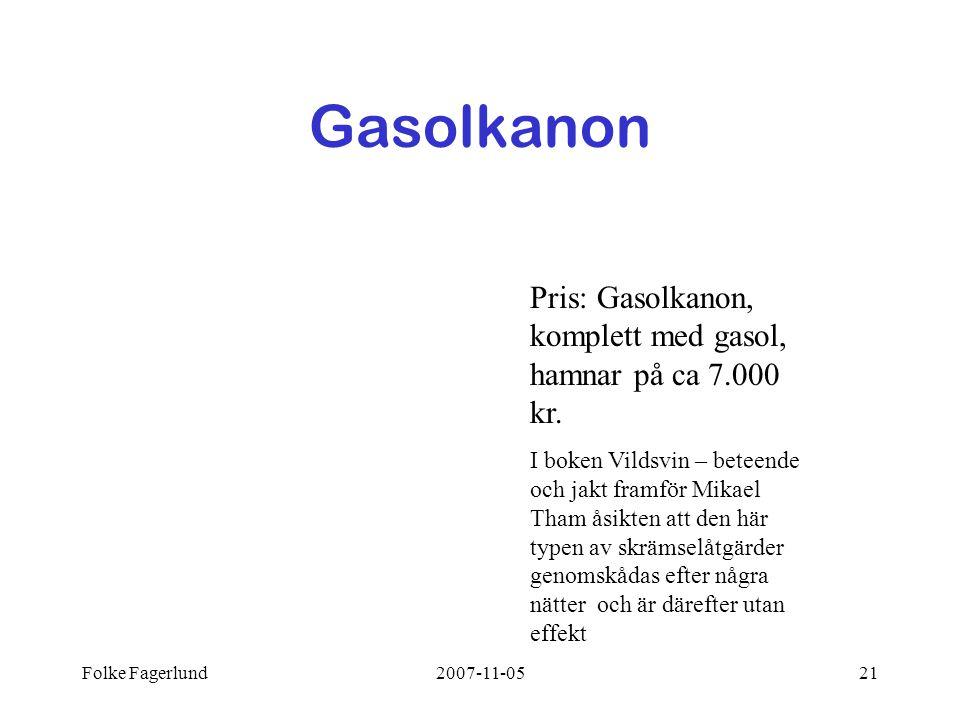 Folke Fagerlund2007-11-0521 Gasolkanon Pris: Gasolkanon, komplett med gasol, hamnar på ca 7.000 kr. I boken Vildsvin – beteende och jakt framför Mikae