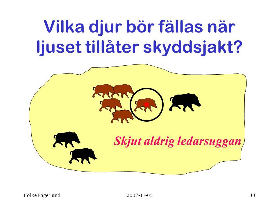 Folke Fagerlund2007-11-0533 Skjut aldrig ledarsuggan Vilka djur bör fällas när ljuset tillåter skyddsjakt?