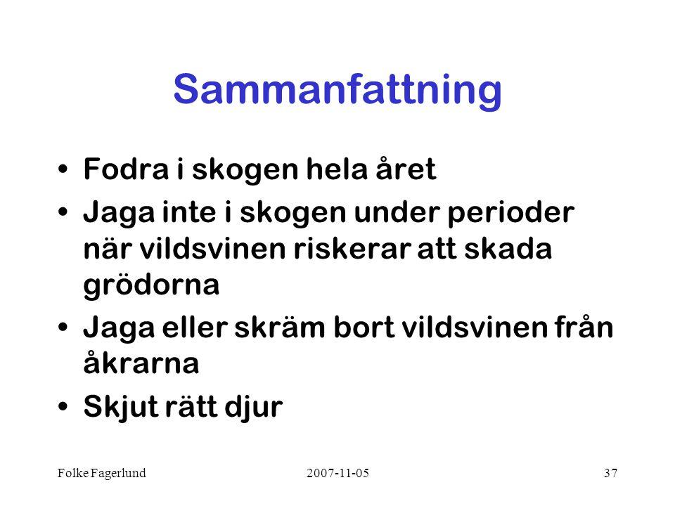 Folke Fagerlund2007-11-0537 Sammanfattning •Fodra i skogen hela året •Jaga inte i skogen under perioder när vildsvinen riskerar att skada grödorna •Ja