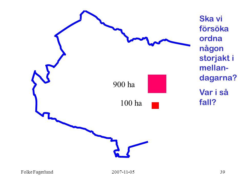 Folke Fagerlund2007-11-0539 Ska vi försöka ordna någon storjakt i mellan- dagarna? Var i så fall? 100 ha 900 ha