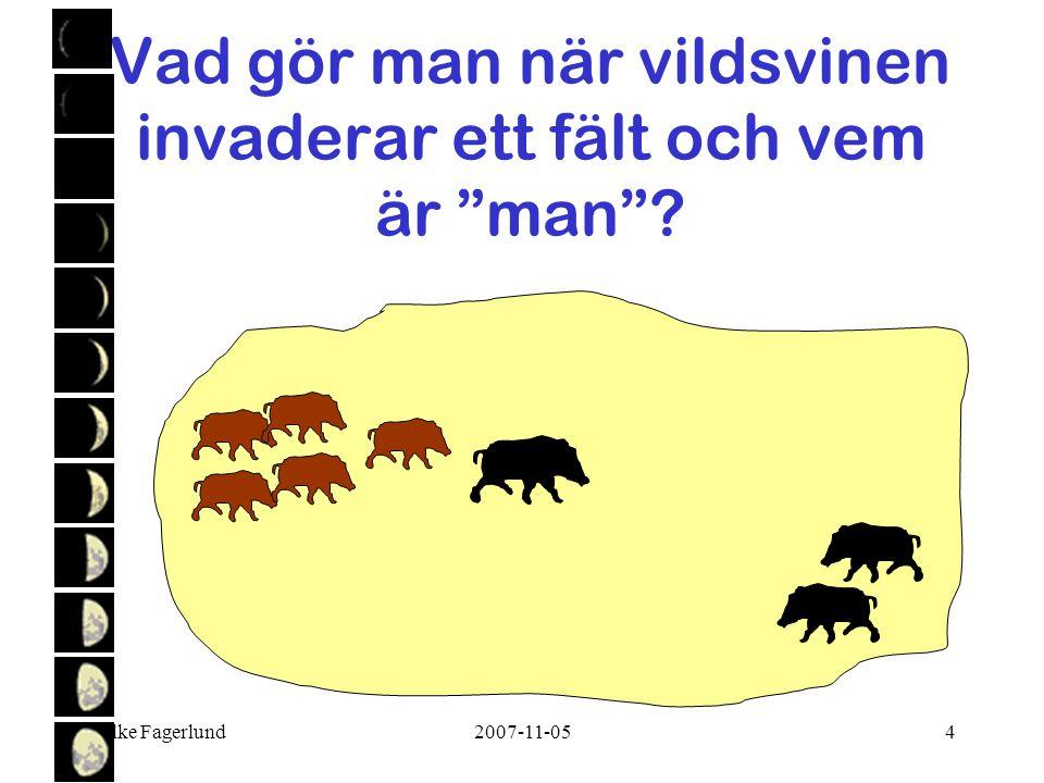 """Folke Fagerlund2007-11-054 Vad gör man när vildsvinen invaderar ett fält och vem är """"man""""?"""
