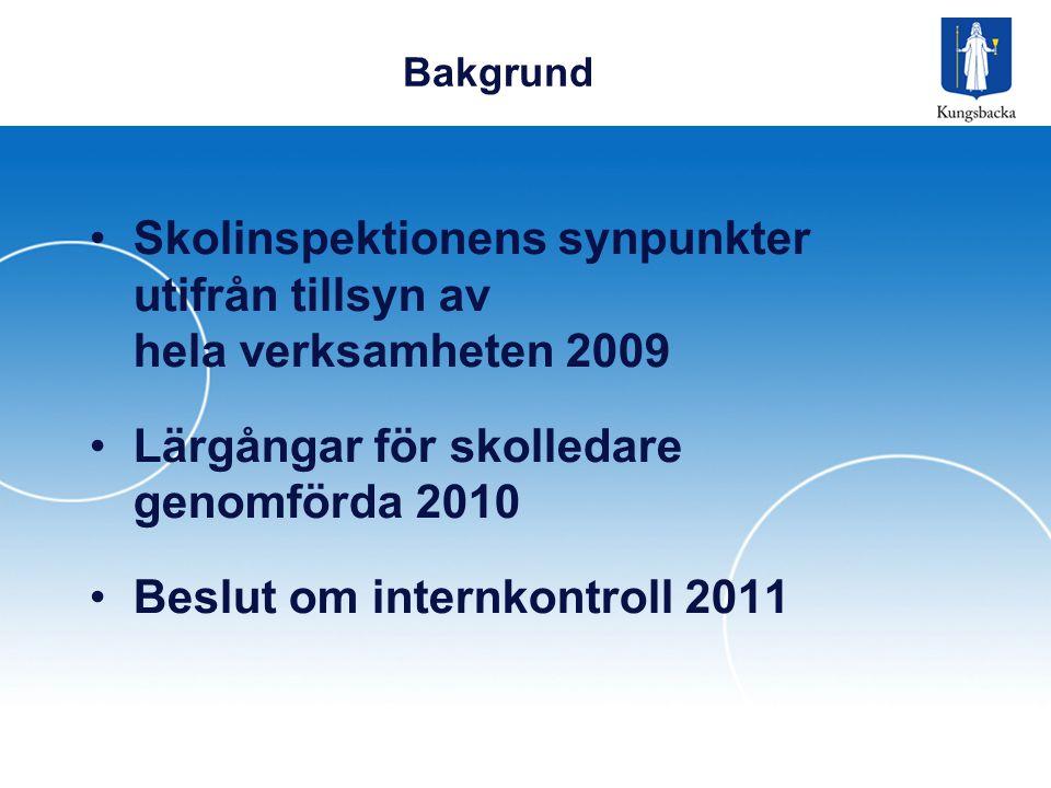 Bakgrund •Skolinspektionens synpunkter utifrån tillsyn av hela verksamheten 2009 •Lärgångar för skolledare genomförda 2010 •Beslut om internkontroll 2011