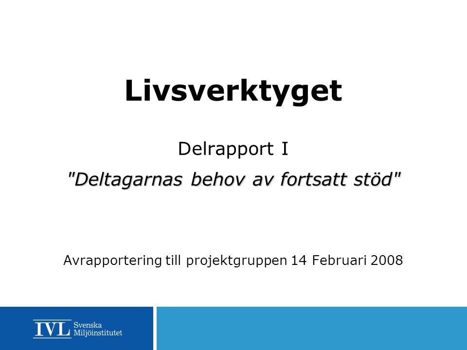 Livsverktyget Delrapport I Deltagarnas behov av fortsatt stöd Avrapportering till projektgruppen 14 Februari 2008
