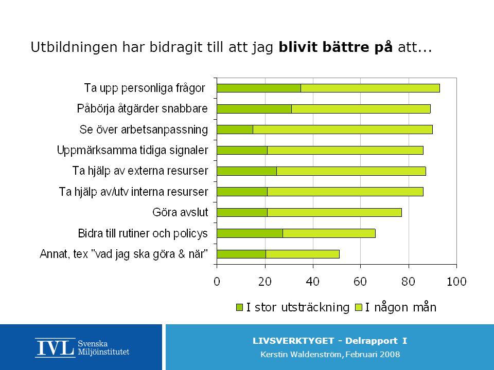 LIVSVERKTYGET - Delrapport I Kerstin Waldenström, Februari 2008 Utbildningen har bidragit till att jag blivit bättre på att...