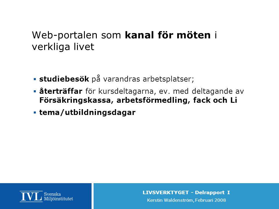 LIVSVERKTYGET - Delrapport I Kerstin Waldenström, Februari 2008 Web-portalen som kanal för möten i verkliga livet  studiebesök på varandras arbetsplatser;  återträffar för kursdeltagarna, ev.