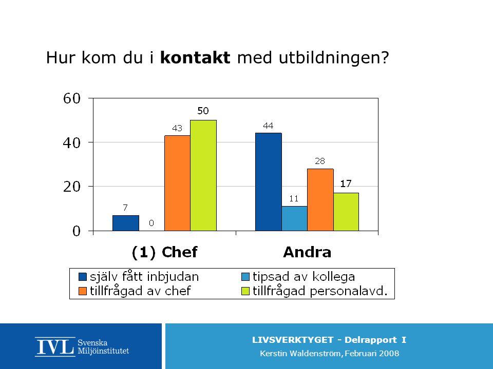 LIVSVERKTYGET - Delrapport I Kerstin Waldenström, Februari 2008 Hur kom du i kontakt med utbildningen?