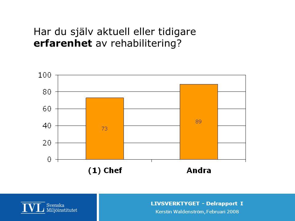 LIVSVERKTYGET - Delrapport I Kerstin Waldenström, Februari 2008 Har du själv aktuell eller tidigare erfarenhet av rehabilitering
