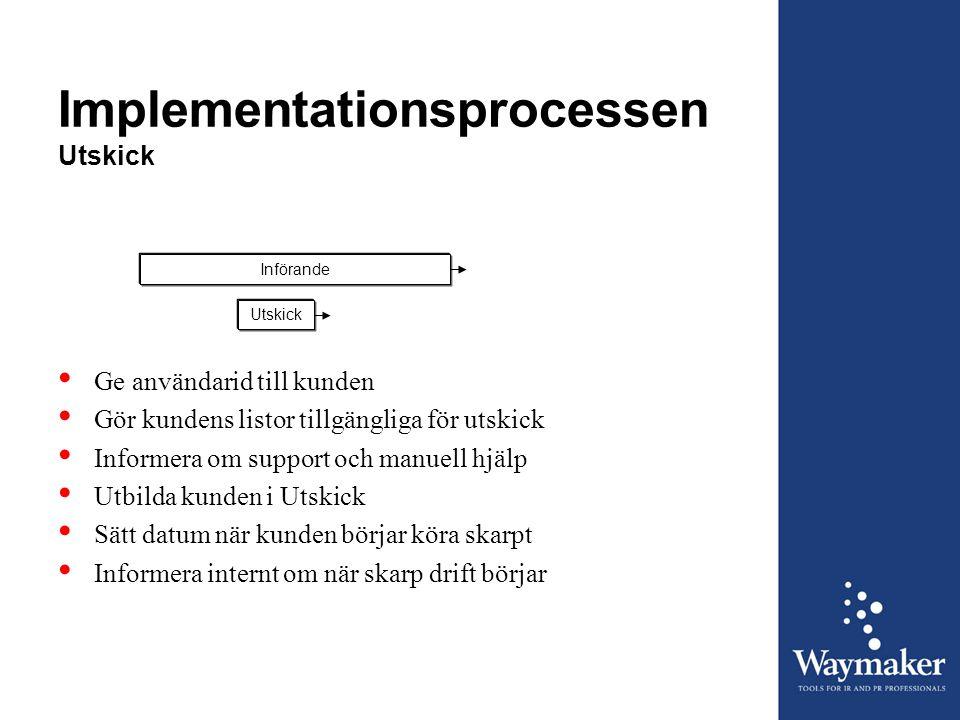 Implementationsprocessen Utskick InförandeUtskick • Ge användarid till kunden • Gör kundens listor tillgängliga för utskick • Informera om support och