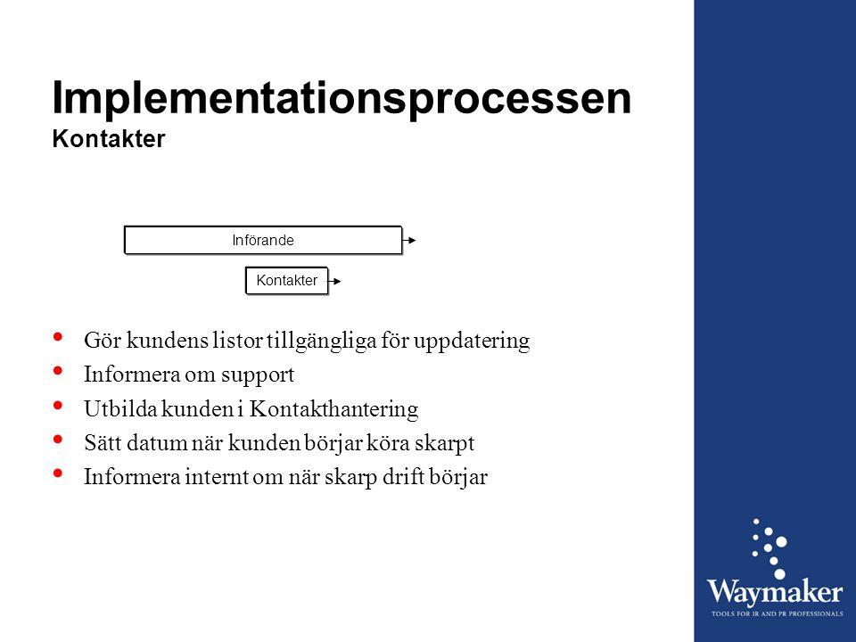 Implementationsprocessen Kontakter InförandeKontakter • Gör kundens listor tillgängliga för uppdatering • Informera om support • Utbilda kunden i Kont