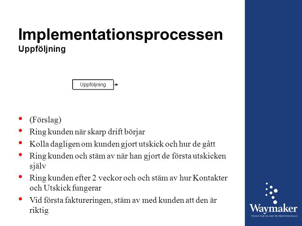 Implementationsprocessen Uppföljning Uppföljning • (Förslag) • Ring kunden när skarp drift börjar • Kolla dagligen om kunden gjort utskick och hur de
