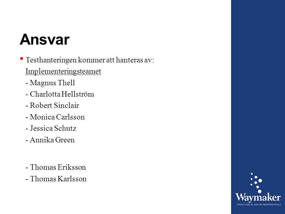 Ansvar • Testhanteringen kommer att hanteras av: Implementeringsteamet - Magnus Thell - Charlotta Hellström - Robert Sinclair - Monica Carlsson - Jess