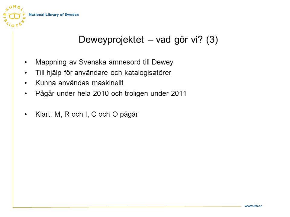 Deweyprojektet – vad gör vi? (3) •Mappning av Svenska ämnesord till Dewey •Till hjälp för användare och katalogisatörer •Kunna användas maskinellt •På