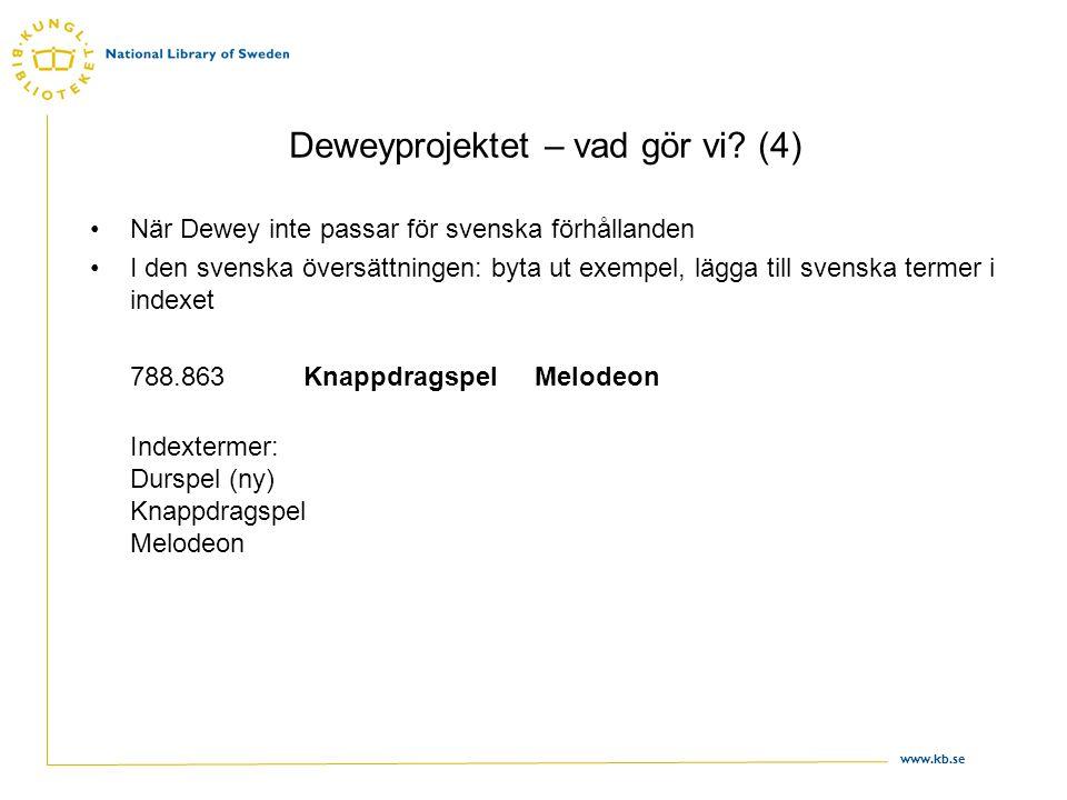 www.kb.se Deweyprojektet – vad gör vi? (4) •När Dewey inte passar för svenska förhållanden •I den svenska översättningen: byta ut exempel, lägga till
