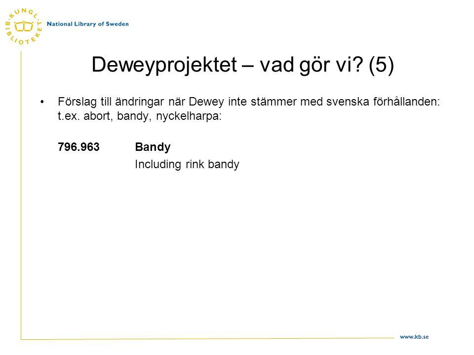 www.kb.se Deweyprojektet – vad gör vi? (5) •Förslag till ändringar när Dewey inte stämmer med svenska förhållanden: t.ex. abort, bandy, nyckelharpa: 7