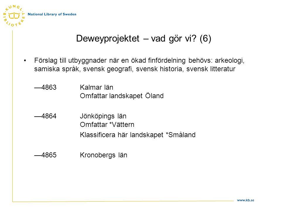 www.kb.se Deweyprojektet – vad gör vi? (6) •Förslag till utbyggnader när en ökad finfördelning behövs: arkeologi, samiska språk, svensk geografi, sven