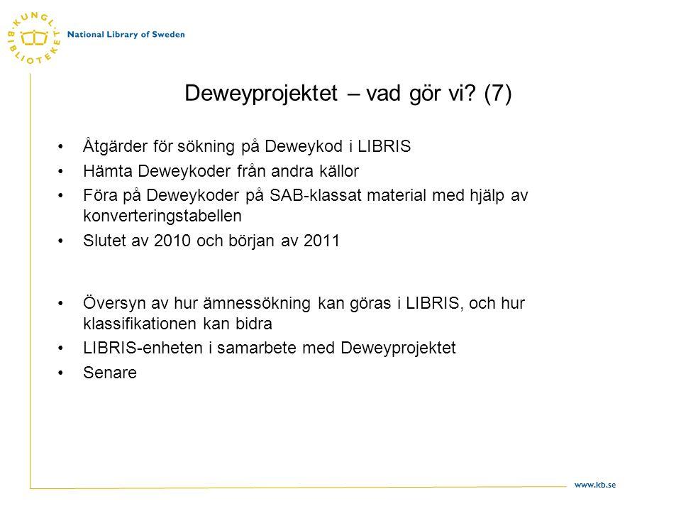 www.kb.se Deweyprojektet – vad gör vi? (7) •Åtgärder för sökning på Deweykod i LIBRIS •Hämta Deweykoder från andra källor •Föra på Deweykoder på SAB-k