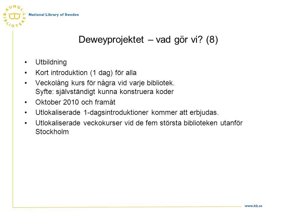 www.kb.se Deweyprojektet – vad gör vi? (8) •Utbildning •Kort introduktion (1 dag) för alla •Veckolång kurs för några vid varje bibliotek. Syfte: själv