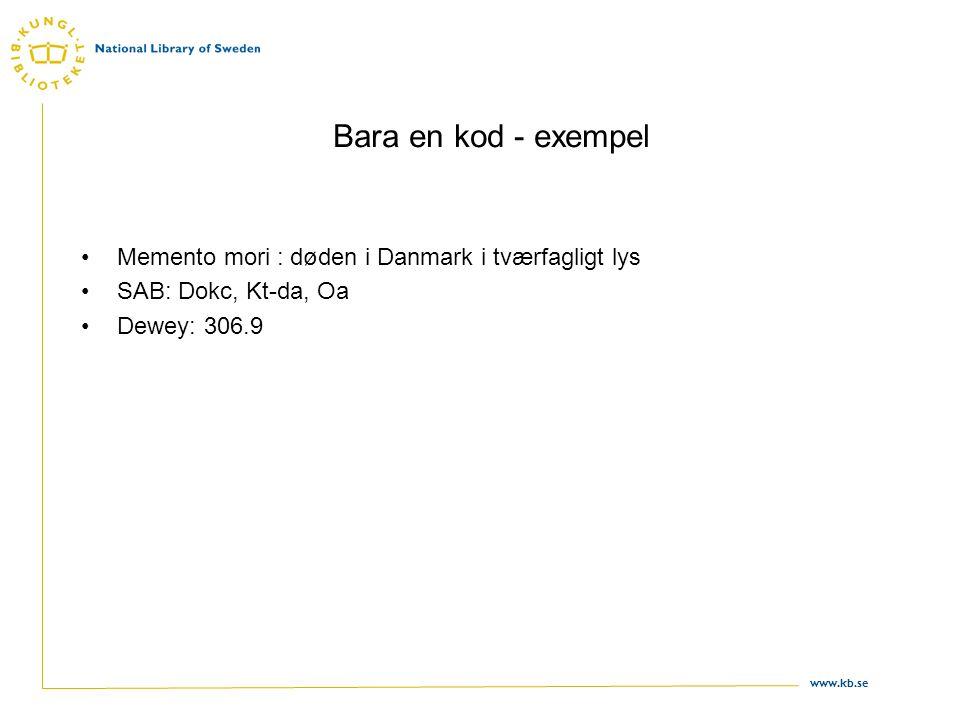 www.kb.se Bara en kod - exempel •Memento mori : døden i Danmark i tværfagligt lys •SAB: Dokc, Kt-da, Oa •Dewey: 306.9