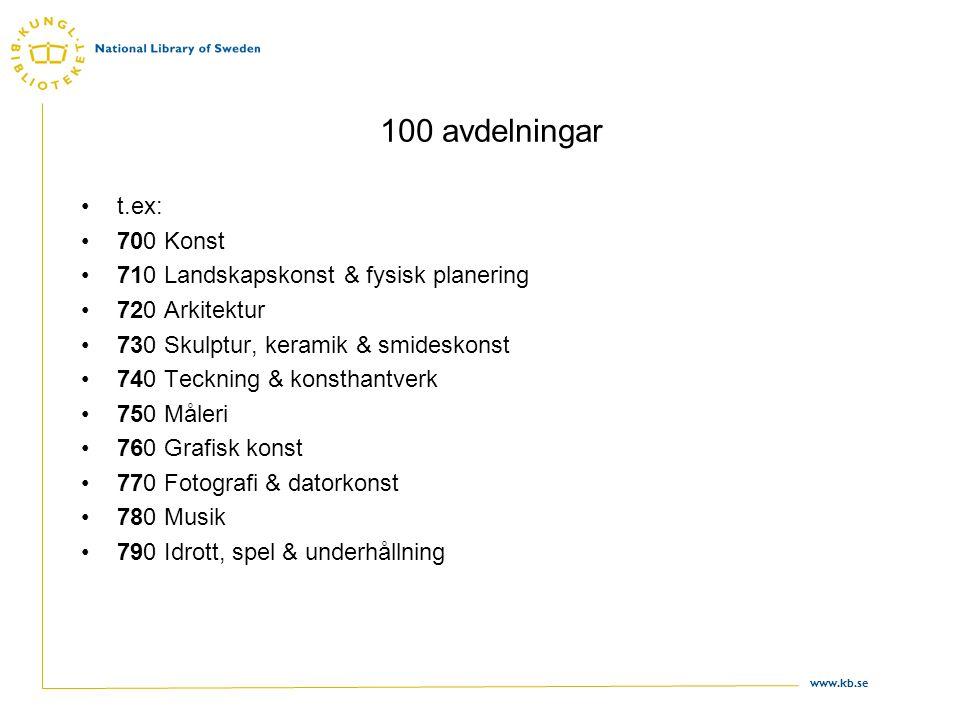 www.kb.se 100 avdelningar •t.ex: •700 Konst •710 Landskapskonst & fysisk planering •720 Arkitektur •730 Skulptur, keramik & smideskonst •740 Teckning