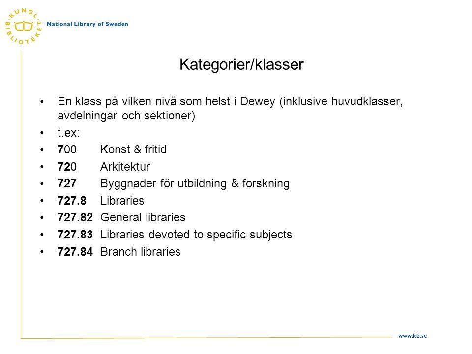 www.kb.se Kategorier/klasser •En klass på vilken nivå som helst i Dewey (inklusive huvudklasser, avdelningar och sektioner) •t.ex: •700 Konst & fritid