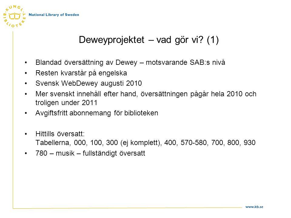 www.kb.se Deweyprojektet – vad gör vi? (1) •Blandad översättning av Dewey – motsvarande SAB:s nivå •Resten kvarstår på engelska •Svensk WebDewey augus
