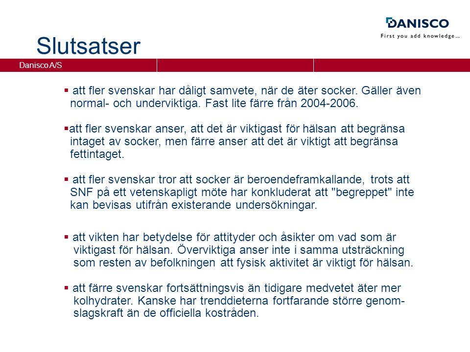 Danisco A/S Slutsatser  att fler svenskar har dåligt samvete, när de äter socker.