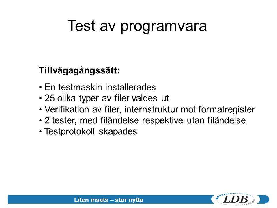 Liten insats – stor nytta Test av programvara Tillvägagångssätt: • En testmaskin installerades • 25 olika typer av filer valdes ut • Verifikation av filer, internstruktur mot formatregister • 2 tester, med filändelse respektive utan filändelse • Testprotokoll skapades