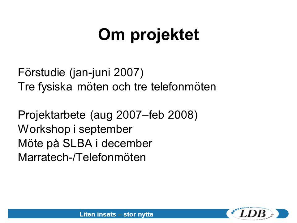 Liten insats – stor nytta Om projektet Förstudie (jan-juni 2007) Tre fysiska möten och tre telefonmöten Projektarbete (aug 2007–feb 2008) Workshop i september Möte på SLBA i december Marratech-/Telefonmöten