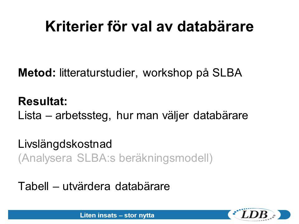 Liten insats – stor nytta Kriterier för val av databärare Metod: litteraturstudier, workshop på SLBA Resultat: Lista – arbetssteg, hur man väljer databärare Livslängdskostnad (Analysera SLBA:s beräkningsmodell) Tabell – utvärdera databärare