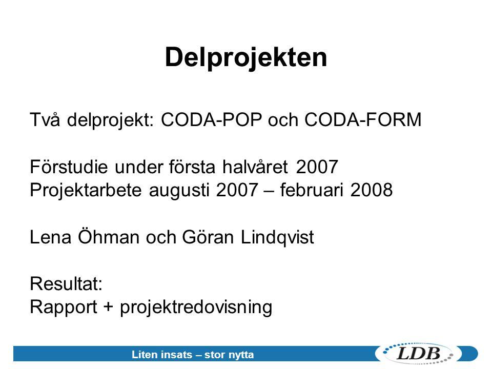 Liten insats – stor nytta Delprojekten Två delprojekt: CODA-POP och CODA-FORM Förstudie under första halvåret 2007 Projektarbete augusti 2007 – februari 2008 Lena Öhman och Göran Lindqvist Resultat: Rapport + projektredovisning