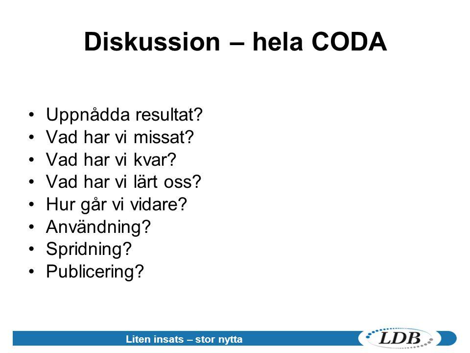 Liten insats – stor nytta Diskussion – hela CODA •Uppnådda resultat.