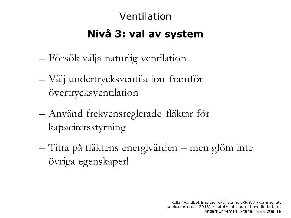 Ventilation Nivå 3: val av system –Försök välja naturlig ventilation –Välj undertrycksventilation framför övertrycksventilation –Använd frekvensregler