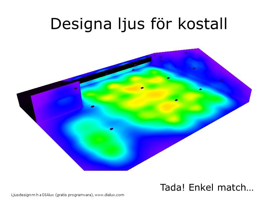 Designa ljus för kostall Tada! Enkel match… Ljusdesign m h a DIAlux (gratis programvara), www.dialux.com