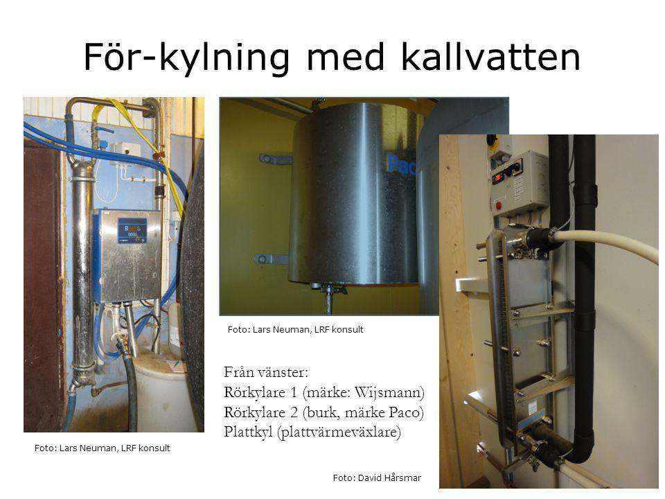 För-kylning med kallvatten Foto: Lars Neuman, LRF konsult Från vänster: Rörkylare 1 (märke: Wijsmann) Rörkylare 2 (burk, märke Paco) Plattkyl (plattvä