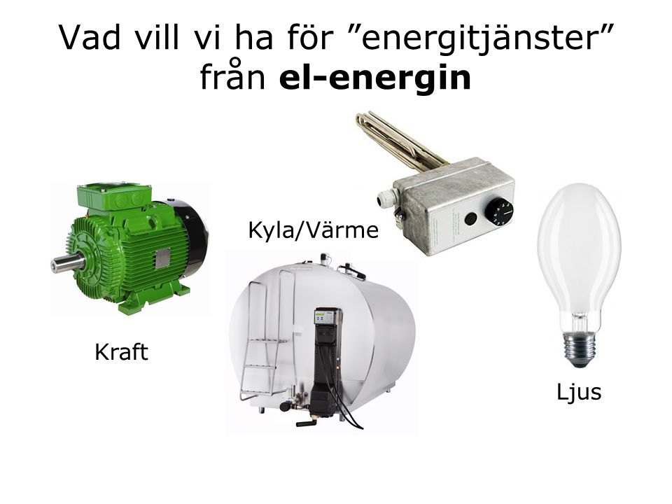Åtgärder – Mjölkning •Frekvensstyrning av vakuumpump –(ca 40% besparing) •Värmeåtervinning från mjölkkylning –(spar ca 60% el till varmvattenberedaren) •Mjölkkylning med inkommande kallvatten –(ca 50% sparpotential för kylkompressorn) Källa: Baky mfl 2010