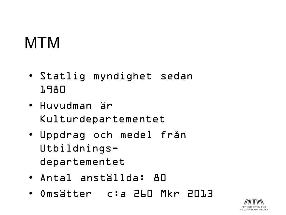 •Statlig myndighet sedan 1980 •Huvudman är Kulturdepartementet •Uppdrag och medel från Utbildnings- departementet •Antal anställda: 80 •Omsätter c:a 2