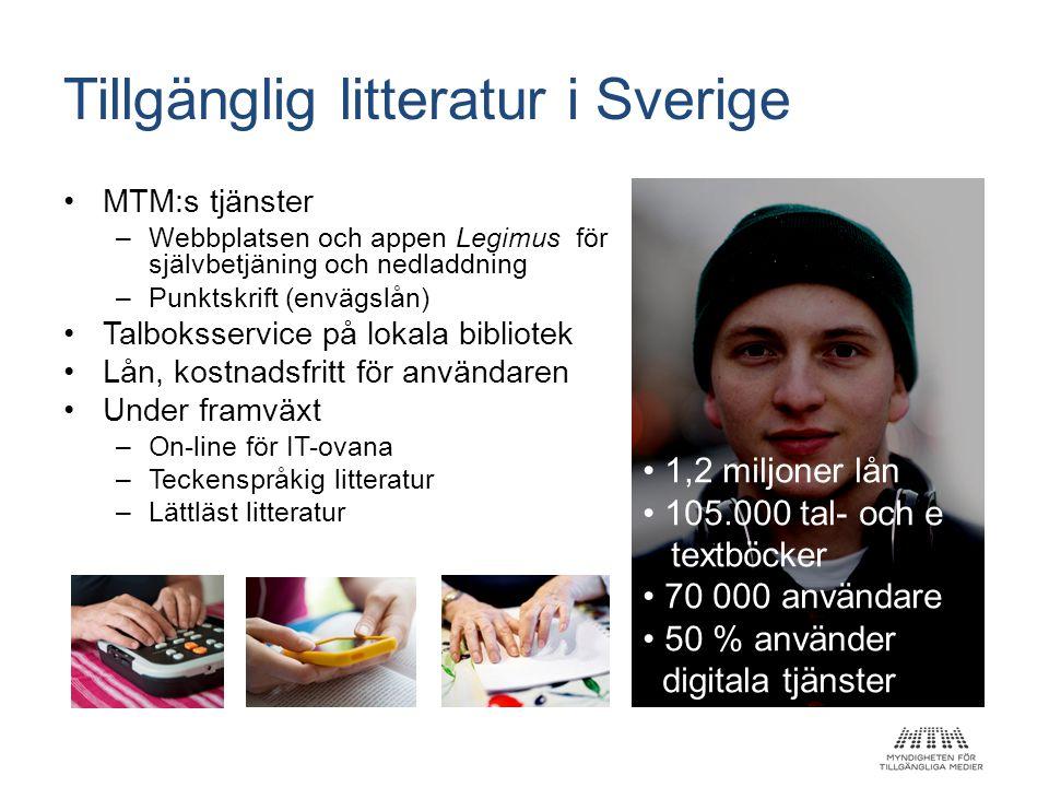 Tillgänglig litteratur i Sverige •MTM:s tjänster –Webbplatsen och appen Legimus för självbetjäning och nedladdning –Punktskrift (envägslån) •Talboksse