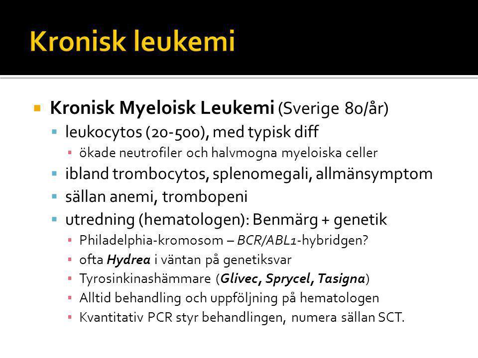  Kronisk Myeloisk Leukemi (Sverige 80/år)  leukocytos (20-500), med typisk diff ▪ ökade neutrofiler och halvmogna myeloiska celler  ibland trombocytos, splenomegali, allmänsymptom  sällan anemi, trombopeni  utredning (hematologen): Benmärg + genetik ▪ Philadelphia-kromosom – BCR/ABL1-hybridgen.