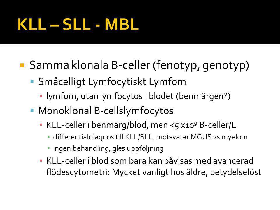  Samma klonala B-celler (fenotyp, genotyp)  Småcelligt Lymfocytiskt Lymfom ▪ lymfom, utan lymfocytos i blodet (benmärgen?)  Monoklonal B-cellslymfocytos ▪ KLL-celler i benmärg/blod, men <5 x10 9 B-celler/L ▪ differentialdiagnos till KLL/SLL, motsvarar MGUS vs myelom ▪ ingen behandling, gles uppföljning ▪ KLL-celler i blod som bara kan påvisas med avancerad flödescytometri: Mycket vanligt hos äldre, betydelselöst