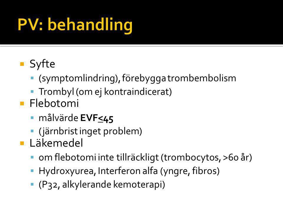  Syfte  (symptomlindring), förebygga trombembolism  Trombyl (om ej kontraindicerat)  Flebotomi  målvärde EVF<45  (järnbrist inget problem)  Läkemedel  om flebotomi inte tillräckligt (trombocytos, >60 år)  Hydroxyurea, Interferon alfa (yngre, fibros)  (P32, alkylerande kemoterapi)