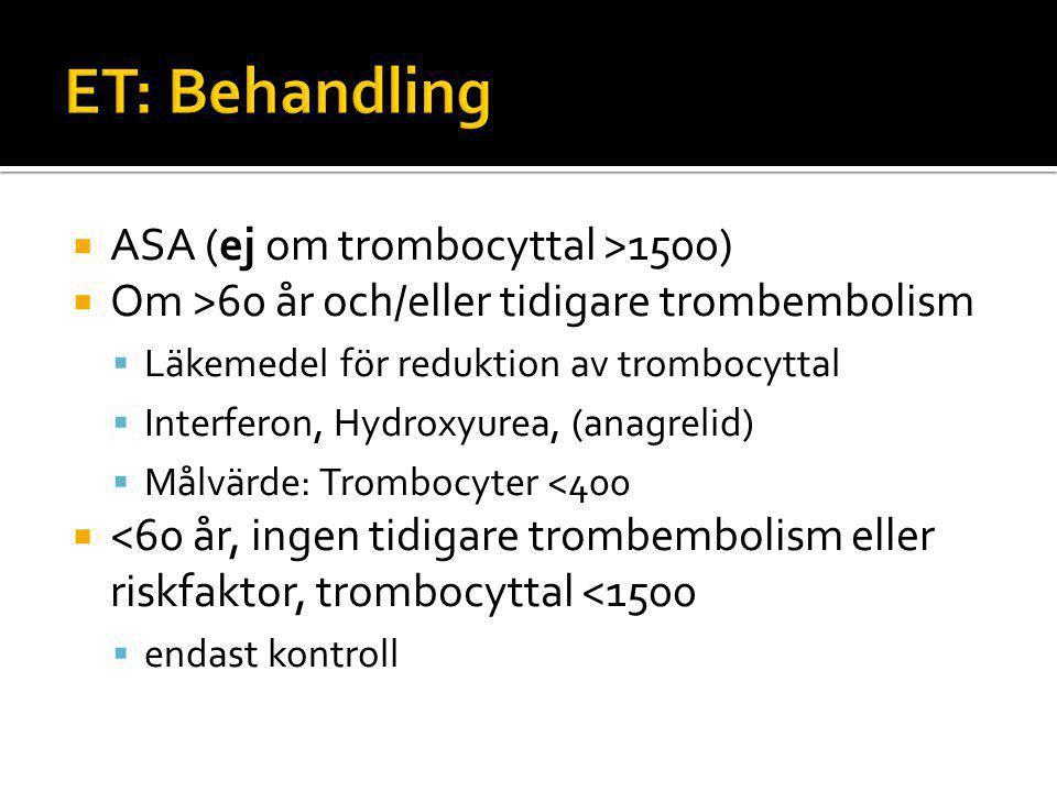  ASA (ej om trombocyttal >1500)  Om >60 år och/eller tidigare trombembolism  Läkemedel för reduktion av trombocyttal  Interferon, Hydroxyurea, (anagrelid)  Målvärde: Trombocyter <400  <60 år, ingen tidigare trombembolism eller riskfaktor, trombocyttal <1500  endast kontroll