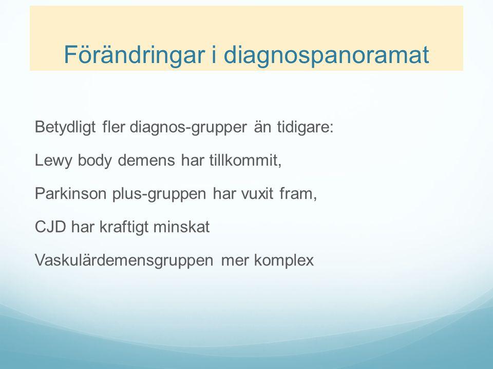 Förändringar i diagnospanoramat Betydligt fler diagnos-grupper än tidigare: Lewy body demens har tillkommit, Parkinson plus-gruppen har vuxit fram, CJ